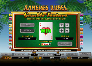 Ramesses Riches Gamble Feature