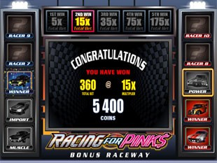 Racing for Pinks Bonus Game