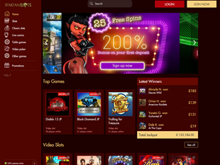 SpartanSlots Casino Home